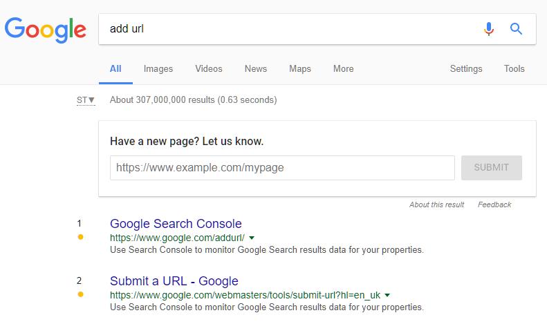 printscreen do add URL aparecendo na página de pesquisa do Google diretamente