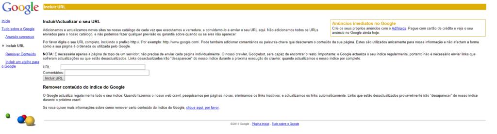 Printscreen do Add URL, ferramenta do Google para jogar URL no indice
