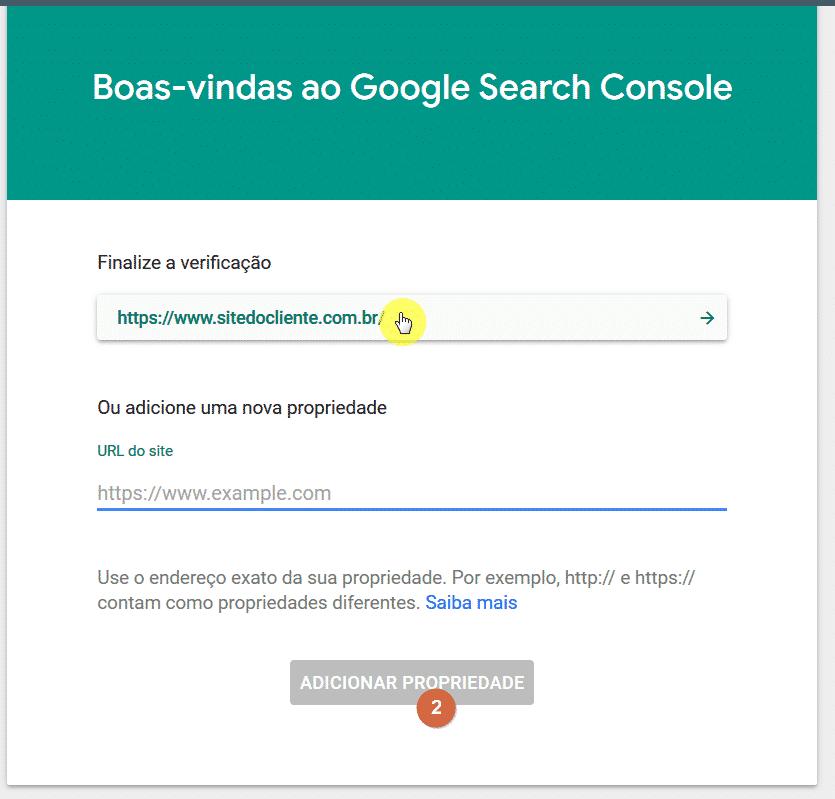 Finalizar a verificação do Google Search Console